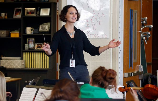 Lancaster Central High School music teacher Lynne Ruda is one of 10 finalists for the Music Educator Grammy, to be awarded on Jan. 26. (Robert Kirkham/Buffalo News)