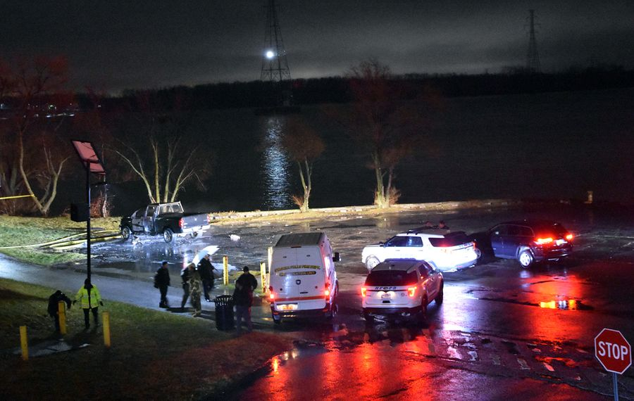 The crime scene in Niagara Falls near the Hooker Docks area Saturday night. (Larry Kensinger/Special to The News)