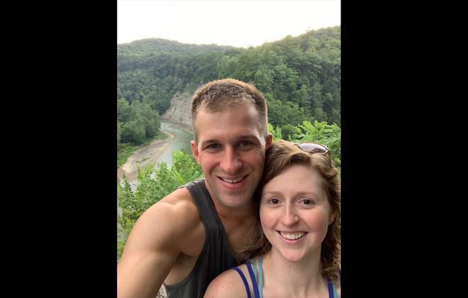 Daniel Liberto and Emily Wade took this selfie after they were engaged at Letchworth State Park.