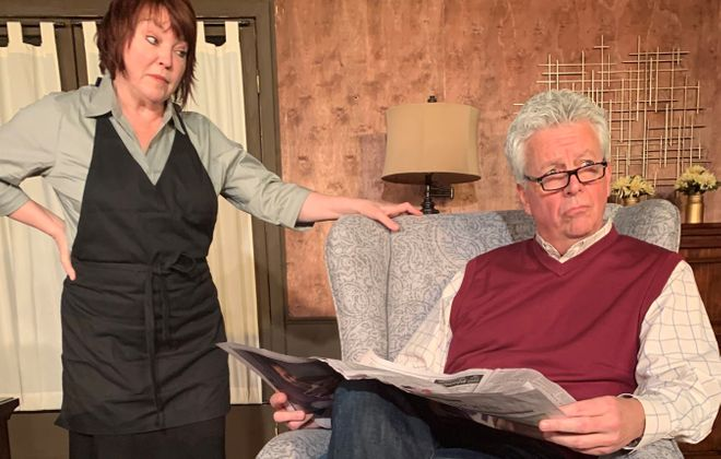 "Eileen Dugan and Russ Papia have an uncomfortable conversation in the two-person play ""On a First Name Basis,"" now at Desiderio's Dinner Theatre."