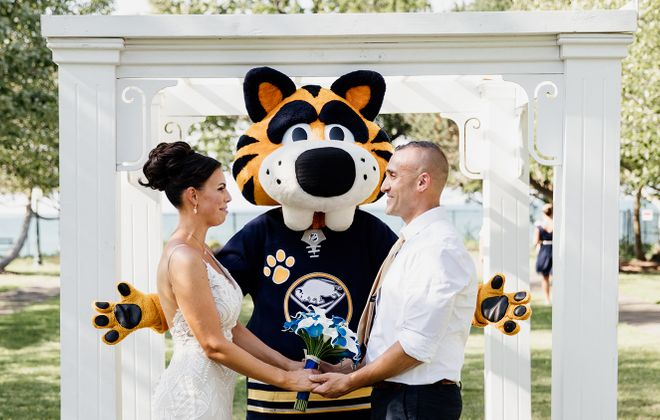 When not at the arena, Sabretooth is available to officiate weddings. (Moonshine Studio of Photography)