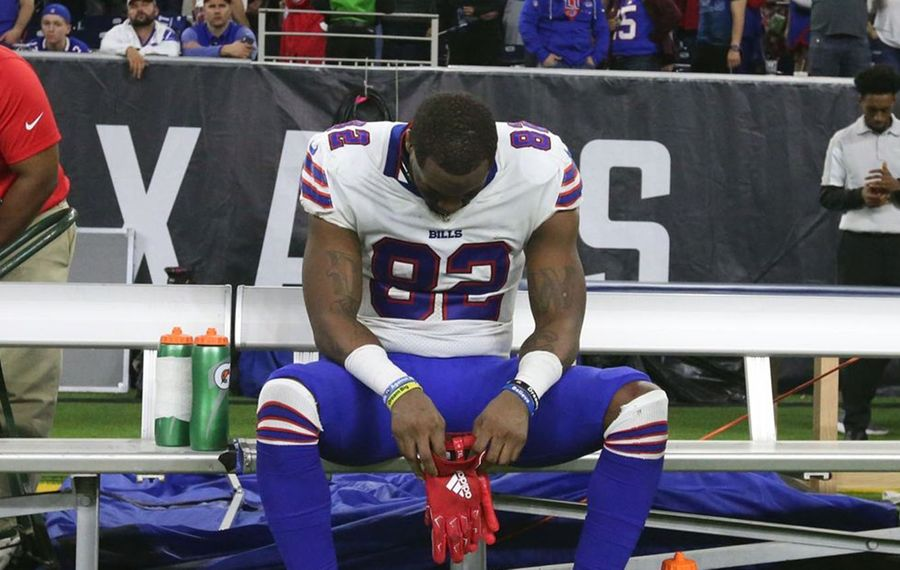 Wide receiver Duke Williams sits on the bench by himself after the Texans beat the Bills at NRG Stadium in Houston on Jan. 4, 2020. (James P. McCoy/Buffalo News)