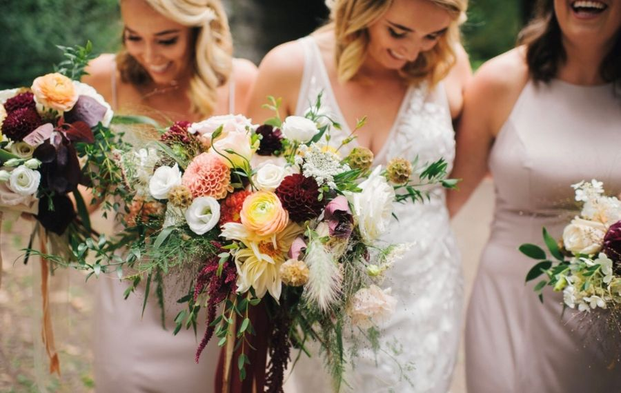 Marigold + Vase uses an eclectic mix of flowers, textures and colors. (Ayres Photography)
