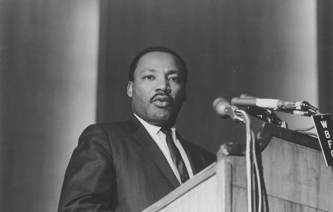 Rev. Martin Luther King Jr. speaking in Kleinhans Music Hall on Nov. 9, 1967. (Photo courtesy of George K. Arthur)