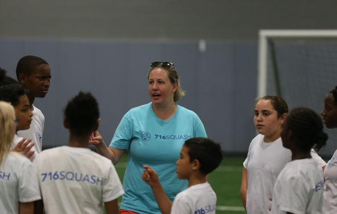 """In my mind, we're an education-first program,"" says Hope Blinkoff Lynch, executive director of 716 Squash, a nonprofit based at the Nardin Athletic Center. (John Hickey/Buffalo News)"