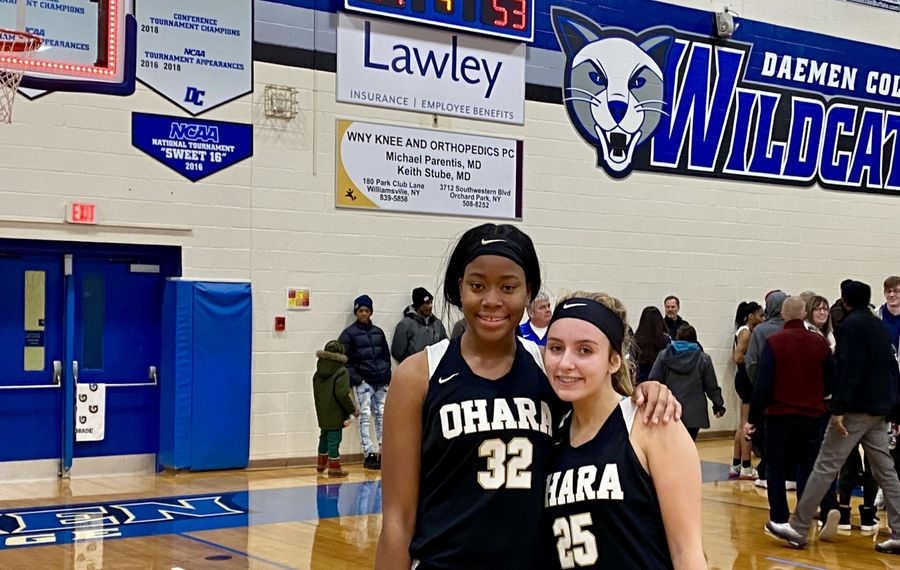 Amelia Strong (12 points, 11 rebounds) and Mia McCarthy (19 points, four steals) led the Cardinal O'Hara girls basketball team in a 53-41 win against Williamsville South on Sunday Jan. 5, 2020, at Daemen College. (Jonah Bronstein/Buffalo News)