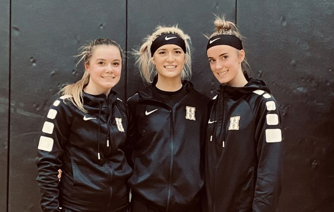 Sisters Kierra Kline, left, Kaylin Kline and Myla Kline are happy to be teaming together after transferring home to Holland. (Jonah Bronstein/Buffalo News)