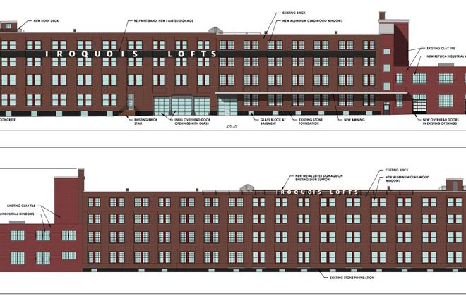 A rendering of the proposed Iroquois Lofts conversion project on Exchange Street in Buffalo. (Courtesy of Buffalo Planning Board)