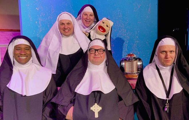 """The """"sisters"""" have a problem in """"Nunsense A-Men!"""" presented by O'Connell & Company. It stars, front row from left, Jake Hayes, Michael Starzynski and Daniel Lendzian. Back row, Joey Bucheker and Nick Lama. (Photo credit: Marcy Mickelson)"""