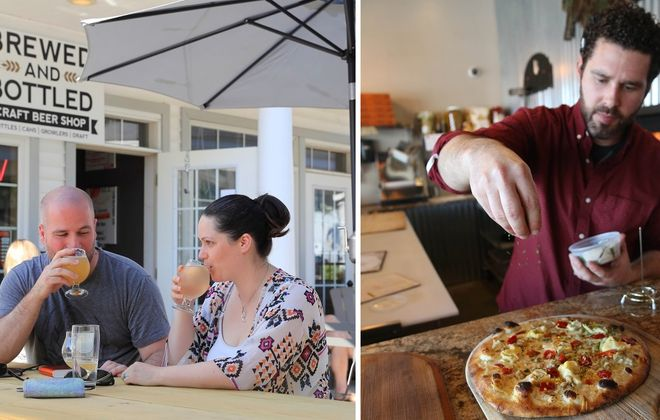 Taproom-craft beer store hybrid Bottled and Brewed will move down Center Street to accommodate the progress of Gallo Coal Fire Kitchen and owner Michael Hibbard, right. (News file photos)