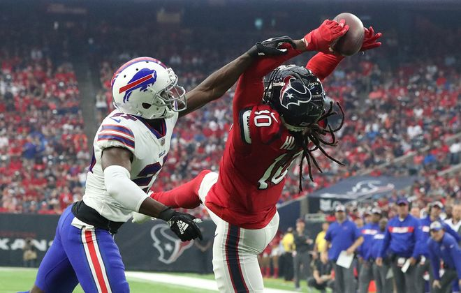 The Bills were able to put plenty of pressure on the Texans when the two teams met in 2018. (James P. McCoy/News file photo)