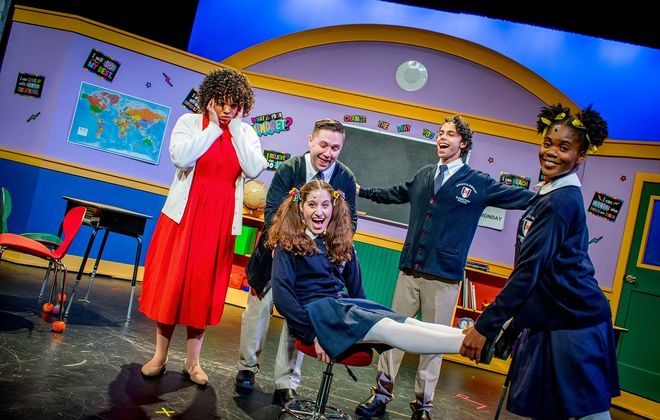 Lily Jones, left, stars as Miss Nelson and as the students Sabrina Kahwaty, Mike Benoit, Dan Torres and Christine Seshie. (Photo by Christy Francis.)
