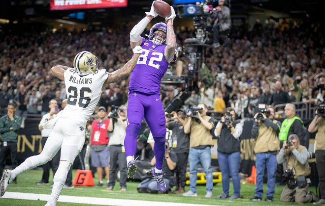 Minnesota Vikings tight end Kyle Rudolph catches the winning touchdown over New Orleans Saints cornerback P.J. Williams in overtime on Sunday, Jan. 5, 2020, at Mercedes-Benz Superdome in New Orleans, La. (Elizabeth Flores/Minneapolis Star Tribune/TNS)