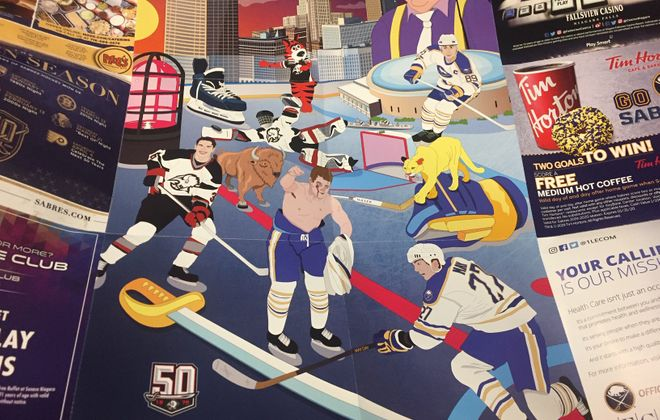 The players on the '90s Day poster handed out Saturday in KeyBank Center featured, clockwise from top,  Alexander Mogilny, Brad May, Rob Ray, Matthew Barnaby and Dominik Hasek and Sabretooth.