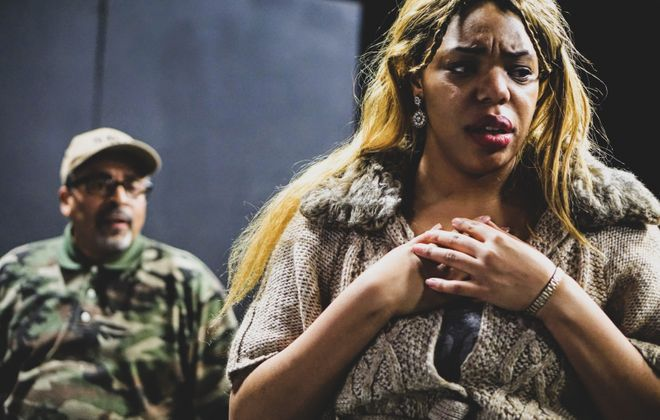 """Andy Finley and Aqueira Oshu star in """"Jump,"""" presented by Paul Robeson Theatre. (Photo by Marcus T. Thompson Jr.)"""