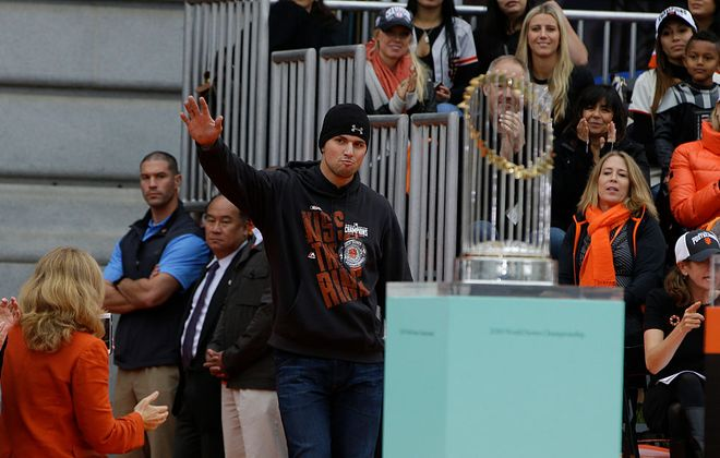 San Francisco second baseman Joe Panik is introduced to fans during the Giants' World Series victory parade on October 31, 2014 (Getty Images).