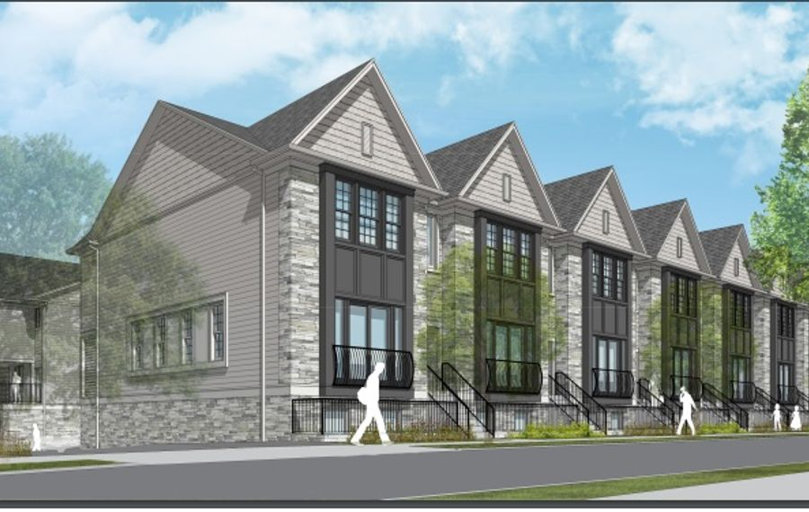 A rendering of the proposed West Utica Street townhouses, part of the Elmwood Crossing redevelopment project. (Photo courtesy of the Buffalo Planning Board)