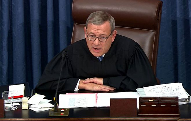 In this screenshot taken from a Senate Television webcast, Chief Justice John Roberts admonishes the House managers and the President's lawyers for using language inappropriate for the Senate during impeachment proceedings against U.S. President Donald Trump at the U.S. Capitol on Wednesday, Jan. 22, 2020, in Washington, D.C. (Senate Television/Getty Images/TNS)