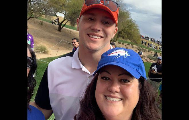 Bills fan Lara McKee gets a photo with quarterback Josh Allen at a celebrity golf tournament in Phoenix. (provided photo)