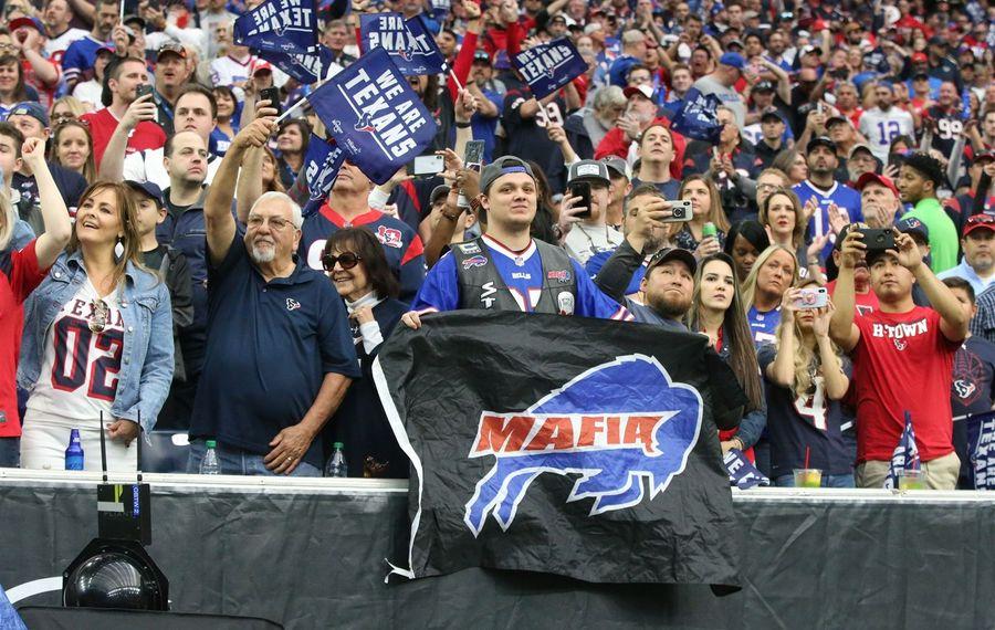 Buffalo Bills fans cheer on their team at NRG Stadium in Houston. (James P. McCoy/Buffalo News)