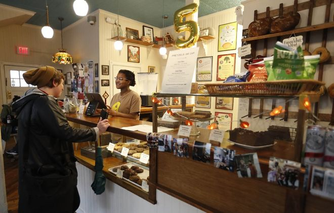 The West Side's BreadHive Bakery & Café has plenty of regular customers. (Sharon Cantillon/Buffalo News)