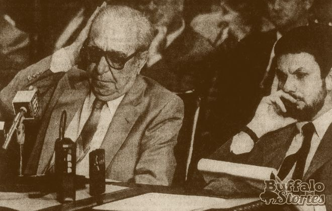 Russell Bufalino, left, testifies before a crime commission hearing in 1982.