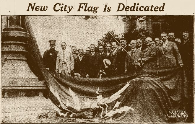 The first flying of Buffalo's flag in 1924.