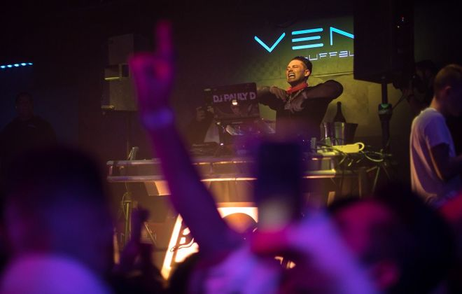 DJ Pauly D spins at VENU in November 2018, his third appearance in Buffalo that year. He's back for his 40th birthday this summer. (Chuck Alaimo/Special to The News)