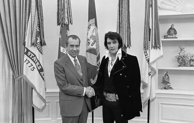 President Nixon, left, meets with Elvis Presley in the Oval Office in 1970 (White House photograph by Ollie Atkins).