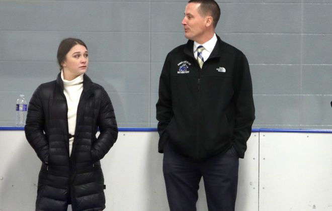 Emma Ruggiero is assisting Kenmore/Grand Island girls hockey coach Jeff Orlowski this season while playing for the Buffalo Beauts. (Janet Schultz/NY Hockey Online)