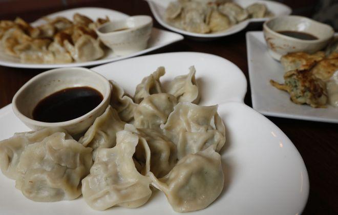 Among the 18 varieties of handmade dumplings at House of Gourmet in Tonawanda are the egg, leek, shrimp and pork steamed dumplings. (Derek Gee/Buffalo News)