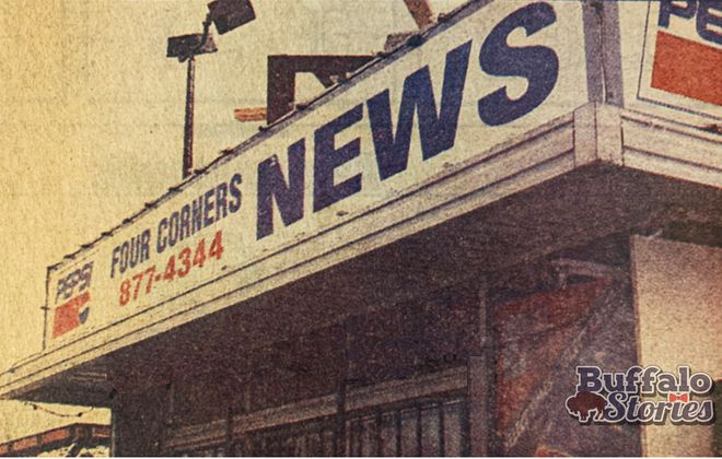 The Four Corners Newsstand stood at the corner of Delaware and Hertel, in front of Burger King, from 1979-1999.