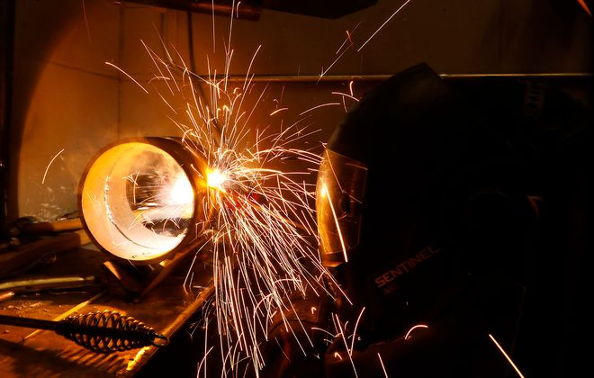 Joseph Damato works on an assignment in the welding technology program offered through SUNY Alfred State College at the Northland Workforce Training Center in December. (Derek Gee/Buffalo News)