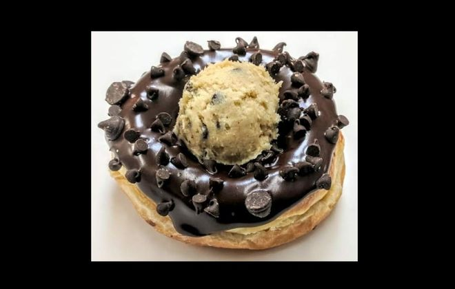 Paula's Donuts' specialty fundraiser flavor with Hospice is chocolate chip cookie dough. (Photo courtesy of Paula's Donuts)