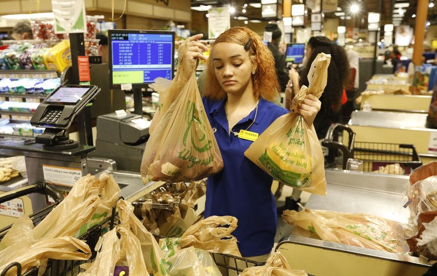 A cashier at the Wegmans on Amherst Street puts groceries in plastic bags for one of the last times. It has since stopped providing plastic bags, which will be banned statewide March 1. (Derek Gee/Buffalo News)