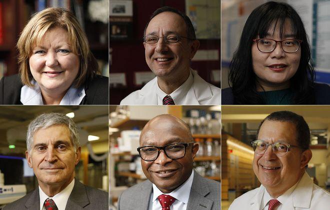 From top left: Dr. Jean Wactawski-Wende, Dr. Ali El-Solh, Dr. Yu-Ping Chang, Dr. Joseph Gelormini, Dr. Kunle Odunsi and Dr. Steven Lipshultz. (Derek Gee/Buffalo News)