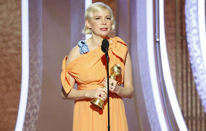 """Jeff Simon writes that Michelle Williams """"proceeded to demonstrate for all time the fine art of making a political acceptance speech at a TV award show."""" (Paul Drinkwater/NBCUniversal Media, LLC via Getty Images)"""