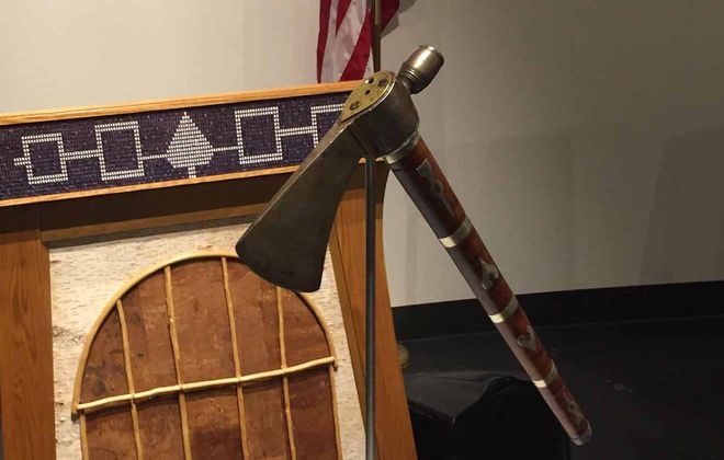 President George Washington gave the pipe-tomahawk to Cornplanter in 1792 as a gift during discussions for the Treaty of Canandaigua. (Barbara O'Brien/Buffalo News)