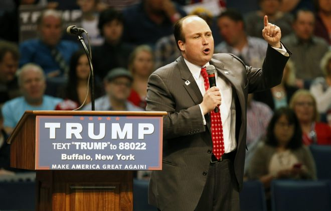 Nick Langworthy, now the state Republican chairman, speaks at a rally for then-presidential candidate Donald Trump before the GOP primary at KeyBank Center in April 2016. (Harry Scull Jr./News file photo)