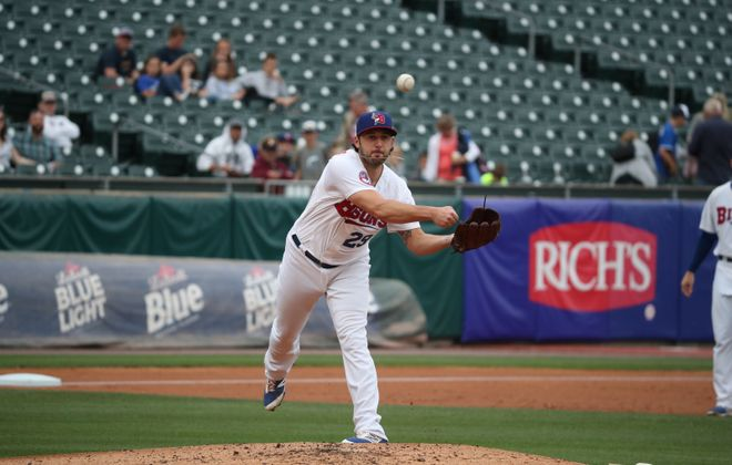 Buffalo Bisons pitcher Mike Bolsinger in a 2017 game. (James P. McCoy/News file photo)