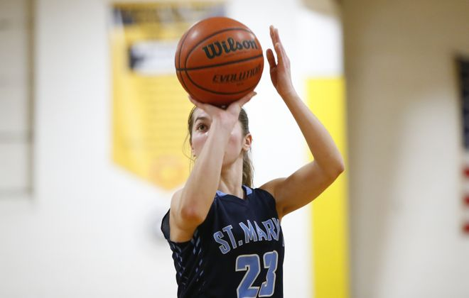 St. Mary's guard Shay Ciezki injured her ankle on a drive to the basket late in the second quarter in Saturday's non-league matchup with Williamsville South. (Harry Scull Jr./Buffalo News file photo)