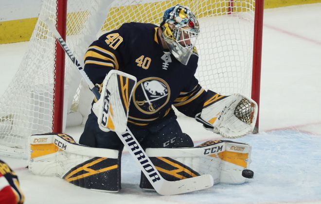 Buffalo Sabres goaltender Carter Hutton (40) makes a save in the first period at Key Bank Center in Buffalo,N.Y. on Tuesday, Feb. 11, 2020. (James P. McCoy/Buffalo News)