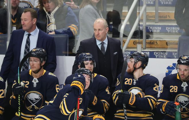 Buffalo Sabres head coach Ralph Krueger directs the team during its Feb. 11 win over Detroit in KeyBank Center. (James P. McCoy/Buffalo News)