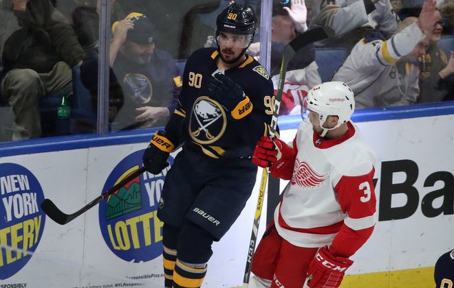 Buffalo Sabres left wing Marcus Johansson (90) celebrates his goal in the second period at Key Bank Center in Buffalo,N.Y. on Tuesday, Feb. 11, 2020. (James P. McCoy/Buffalo News)