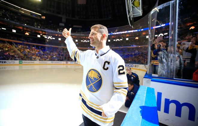 Buffalo Sabres alumnus Jason Pominville acknowledges the crowd at 2000s Night prior to the Sabres playing the Columbus Blue Jackets at KeyBank Center, on Thursday, Feb. 13, 2020. (Harry Scull Jr./Buffalo News)