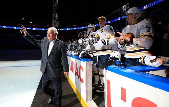 Tom Golisano, former owner of the Buffalo Sabres, acknowledges the crowd during a pregame ceremony Thursday at KeyBank Center. (Harry Scull Jr./Buffalo News)