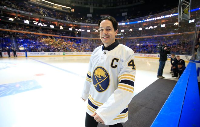 Former Sabres captain Daniel Briere prior to the Sabres playing the Columbus Blue Jackets at KeyBank Center, on Thursday, Feb. 13, 2020. (Harry Scull Jr./Buffalo News)