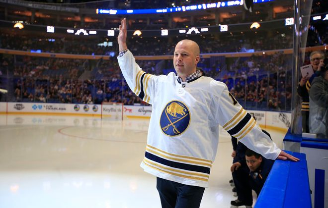 Buffalo Sabres alumnus Tim Connolly prior to the Sabres playing the Columbus Blue Jackets at the KeyBank Center, on Thursday, Feb. 13, 2020. (Harry Scull Jr./Buffalo News)