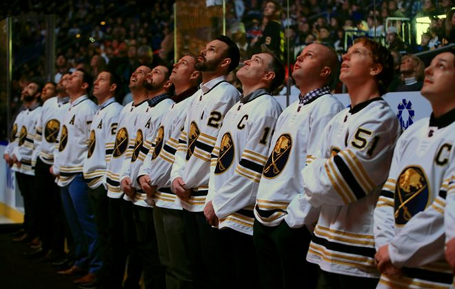 Buffalo Sabres alumni watch a pergame video prior to the Sabres playing the Columbus Blue Jackets at KeyBank Center on Thursday, Feb. 13, 2020. (Harry Scull Jr./Buffalo News)