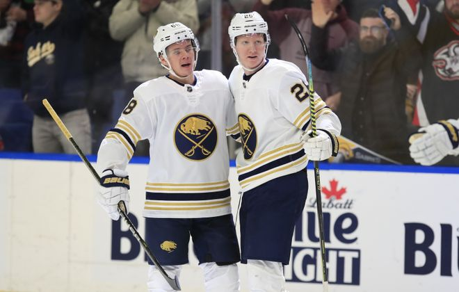 Buffalo Sabres' Victor Olofsson celebrates his goal with Rasmus Dahlin against the Columbus Blue Jackets at KeyBank Center on Thursday, Feb. 13, 2020. (Harry Scull Jr./Buffalo News)